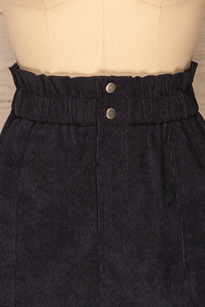 Loxley Navy Blue Corduroy Mini Skirt | La Petite Garçonne front close-up