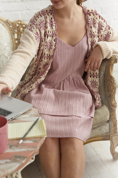 Ampelle Pink Chenille Cardigan | Boutique 1861 on model