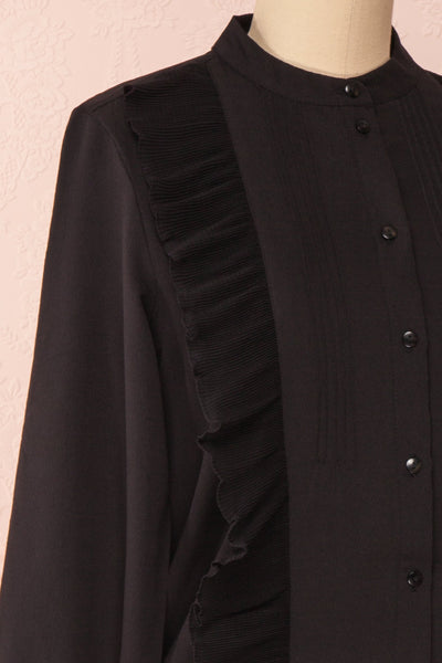 Lubien Black Long Sleeved Cropped Shirt | Boutique 1861 side close-up