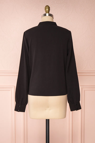 Lubien Black Long Sleeved Cropped Shirt | Boutique 1861 back view