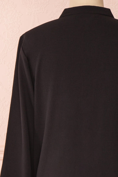 Lubien Black Long Sleeved Cropped Shirt | Boutique 1861 back close-up