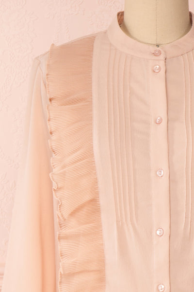 Lubien Dusty Rose Pink Long Sleeved Shirt | Boutique 1861 front close-up