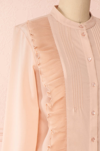 Lubien Dusty Rose Pink Long Sleeved Shirt | Boutique 1861 side close-up
