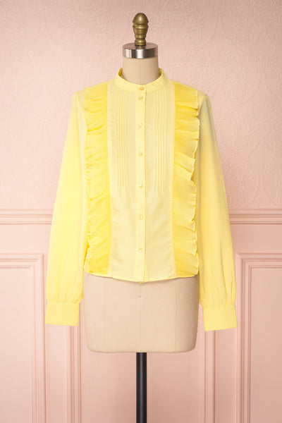 Lubien Yellow Long Sleeved Cropped Shirt | Boutique 1861 front view