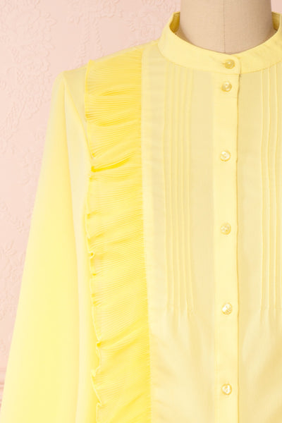 Lubien Yellow Long Sleeved Cropped Shirt | Boutique 1861 front close-up