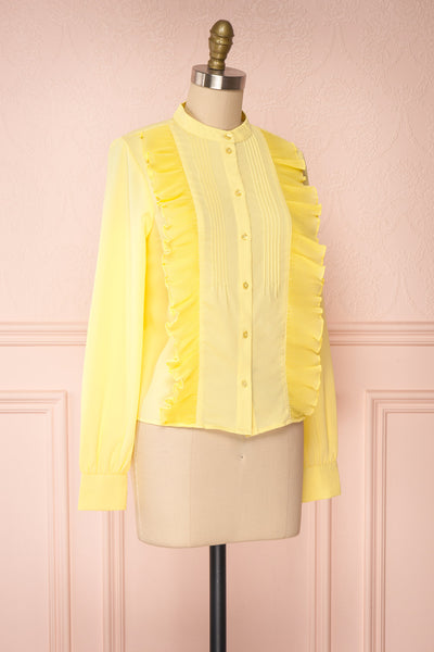 Lubien Yellow Long Sleeved Cropped Shirt | Boutique 1861 side view