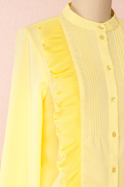 Lubien Yellow Long Sleeved Cropped Shirt | Boutique 1861 side close-up