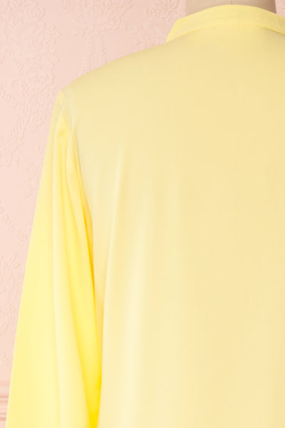 Lubien Yellow Long Sleeved Cropped Shirt | Boutique 1861 back close-up