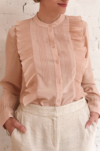 Lubien Dusty Rose Pink Long Sleeved Shirt | Boutique 1861 on model
