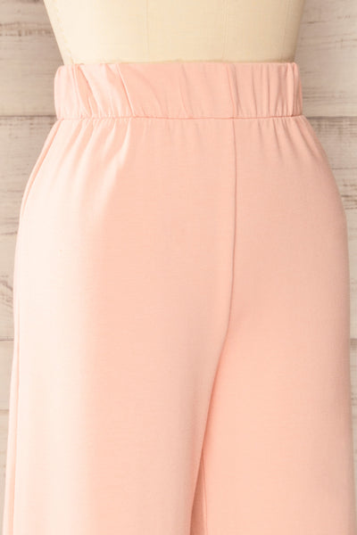 Lucille Blush Pink Wide Leg Lounge Pants | La petite garçonne side close-up