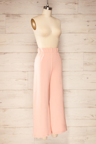 Lucille Blush Pink Wide Leg Lounge Pants | La petite garçonne side view