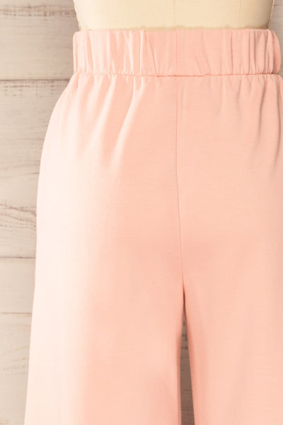 Lucille Blush Pink Wide Leg Lounge Pants | La petite garçonne back close-up