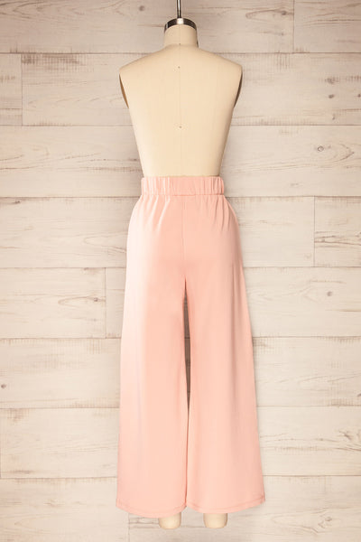 Lucille Blush Pink Wide Leg Lounge Pants | La petite garçonne back view