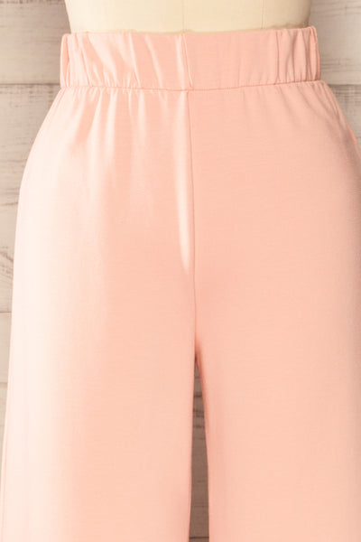 Lucille Blush Pink Wide Leg Lounge Pants | La petite garçonne front close-up
