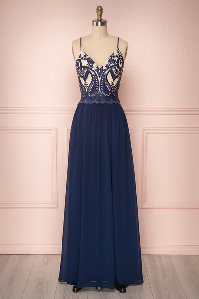 Lucrecia Navy Blue Chiffon A-Line Prom Dress | Boutique 1861