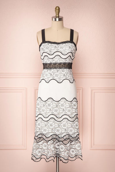 Lucy-Lou White & Black Ruffled Lace Midi Dress | Boutique 1861