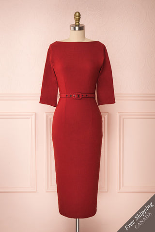 Ludivine Dark Red Fitted Midi Dress w/ Belt front close up | Boutique 1861