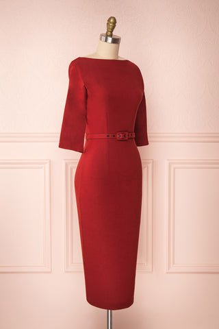 Ludivine Dark Red Fitted Midi Dress w/ Belt side view | Boutique 1861