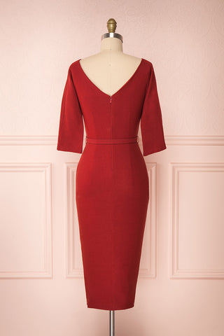 Ludivine Dark Red Fitted Midi Dress w/ Belt back view | Boutique 1861