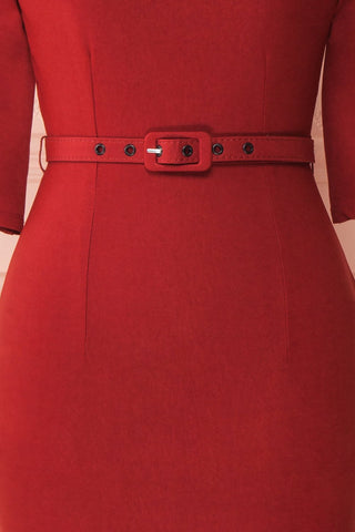 Ludivine Dark Red Fitted Midi Dress w/ Belt fabric close up | Boutique 1861