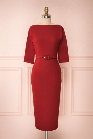 Ludivine Dark Red Fitted Midi Dress w/ Belt | Boutique 1861