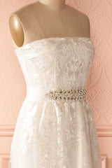 Ludowica - White lace crystal belt bustier gown