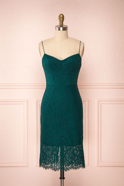 Ludvika Dark Green Fitted Lace Dress | Boutique 1861 front view