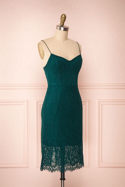 Ludvika Dark Green Fitted Lace Dress | Boutique 1861 side view