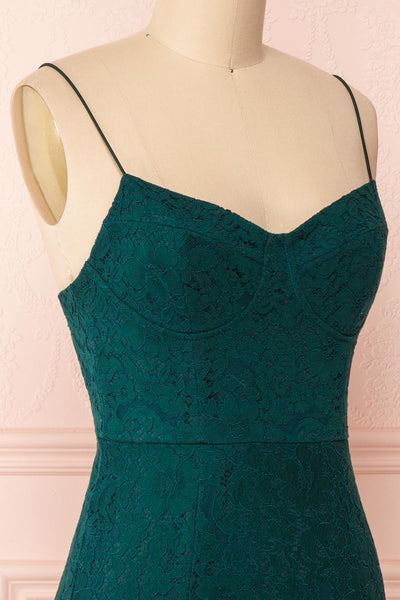 Ludvika Dark Green Fitted Lace Dress | Boutique 1861 side close-up