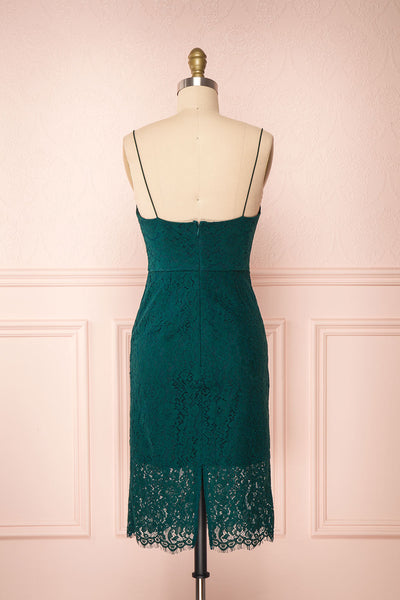 Ludvika Dark Green Fitted Lace Dress | Boutique 1861 back view