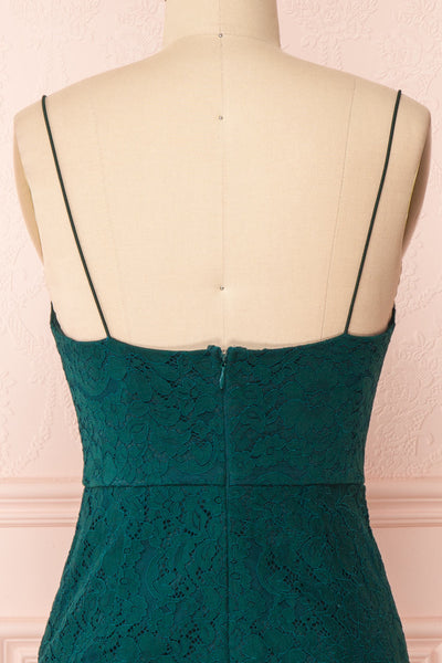 Ludvika Dark Green Fitted Lace Dress | Boutique 1861 back close-up
