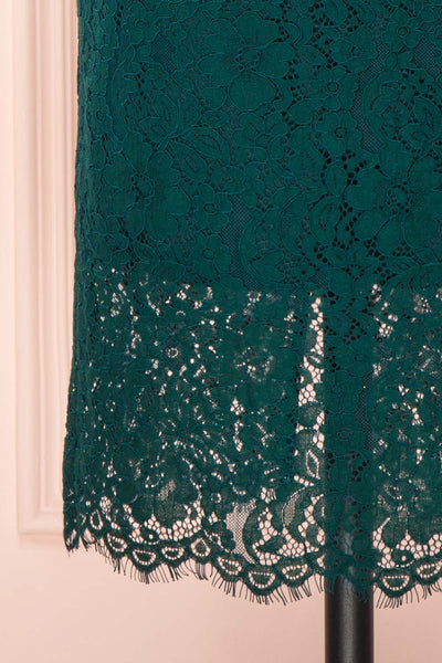 Ludvika Dark Green Fitted Lace Dress | Boutique 1861 bottom close-up