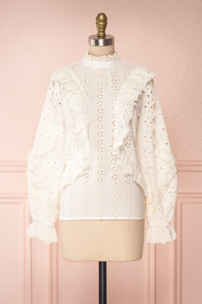 Lunesque Ivory Long Sleeve Openwork Lace Top | Boutique 1861 front view