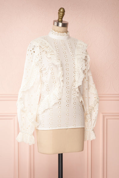 Lunesque Ivory Long Sleeve Openwork Lace Top | Boutique 1861 side view