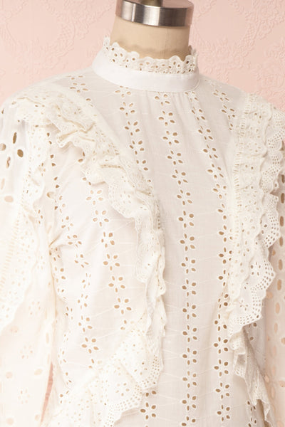 Lunesque Ivory Long Sleeve Openwork Lace Top | Boutique 1861 side close up