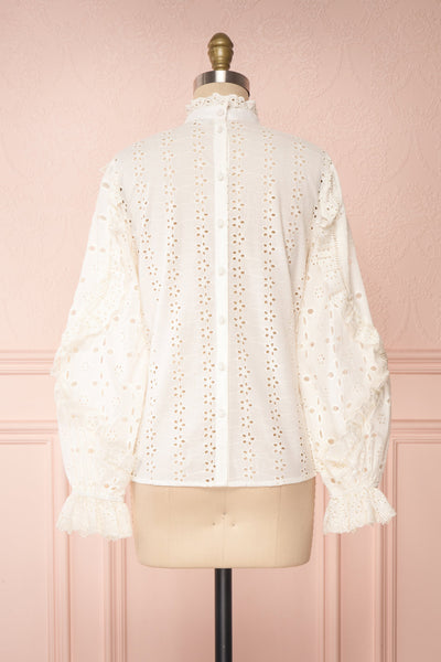 Lunesque Ivory Long Sleeve Openwork Lace Top | Boutique 1861 back view