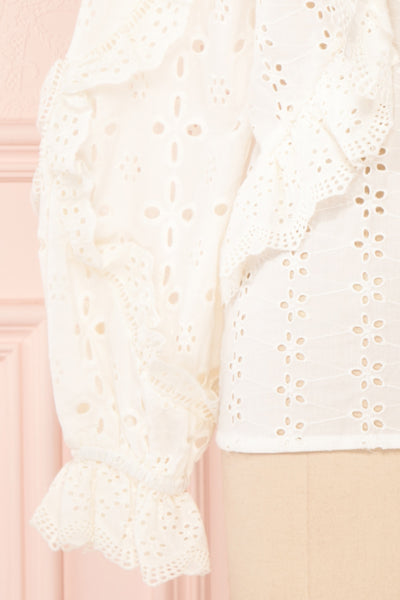 Lunesque Ivory Long Sleeve Openwork Lace Top | Boutique 1861 sleeves