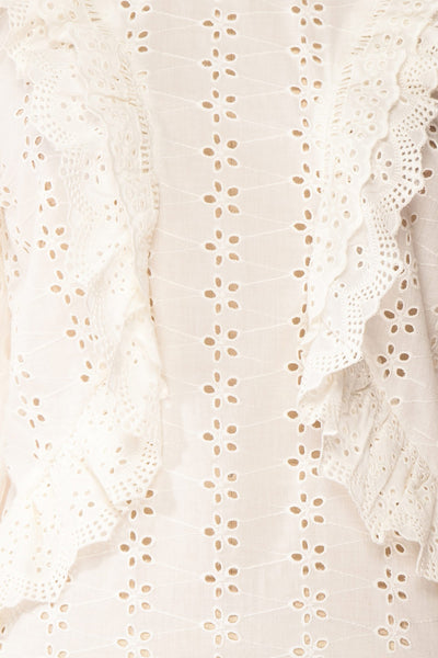 Lunesque Ivory Long Sleeve Openwork Lace Top | Boutique 1861 fabric