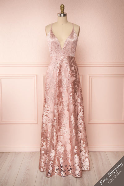 Lyaksandra Pink Floral Embroidered Maxi Dress | Boutique 1861 front view FS