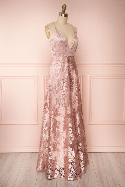 Lyaksandra Pink Floral Embroidered Maxi Dress | Boutique 1861 side view