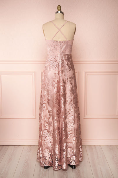 Lyaksandra Pink Floral Embroidered Maxi Dress | Boutique 1861 back view