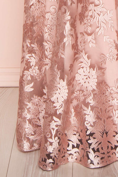 Lyaksandra Pink Floral Embroidered Maxi Dress | Boutique 1861 skirt