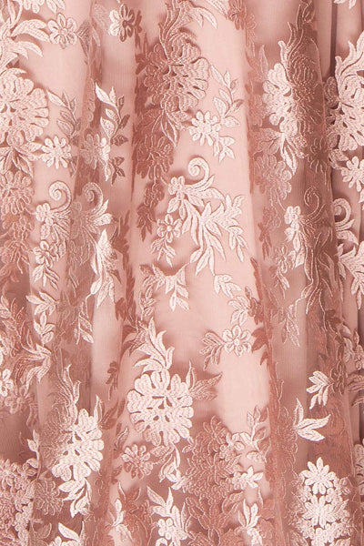 Lyaksandra Pink Floral Embroidered Maxi Dress | Boutique 1861 fabric