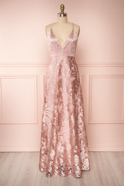 Lyaksandra Pink Floral Embroidered Maxi Dress | Boutique 1861 front close up