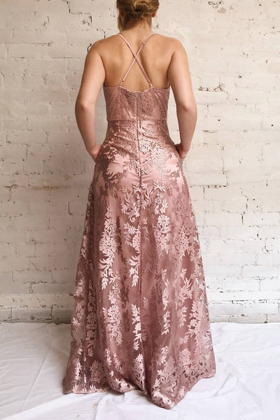 Lyaksandra Pink Floral Embroidered Maxi Dress | Boutique 1861 on model