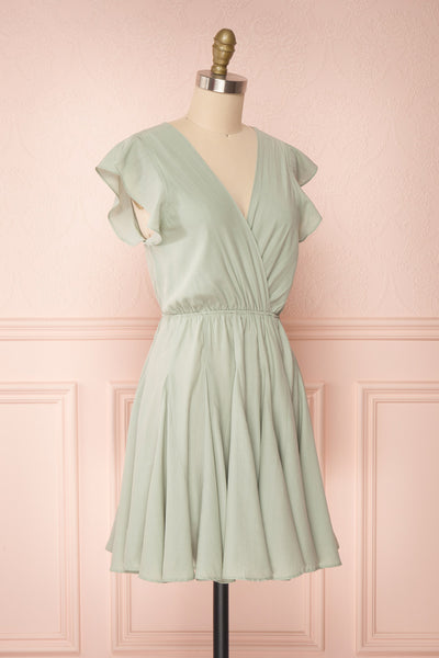 Lyana Light Green Faux-Wrap Short Dress | Boutique 1861 side view