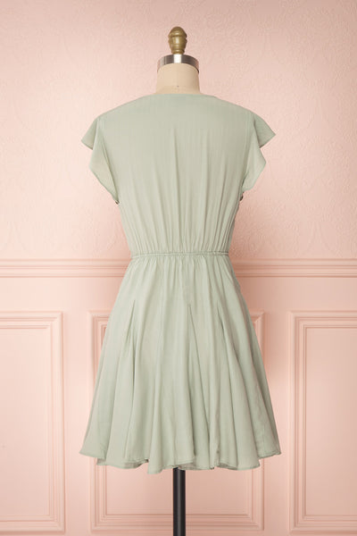 Lyana Light Green Faux-Wrap Short Dress | Boutique 1861 back view