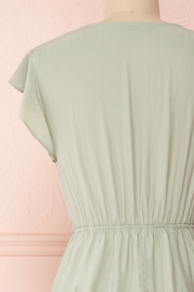 Lyana Light Green Faux-Wrap Short Dress | Boutique 1861 back close-up