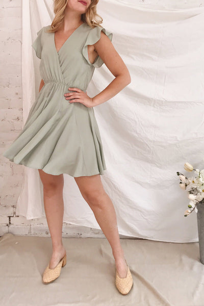 Lyana Light Green Faux-Wrap Short Dress | Boutique 1861 model look