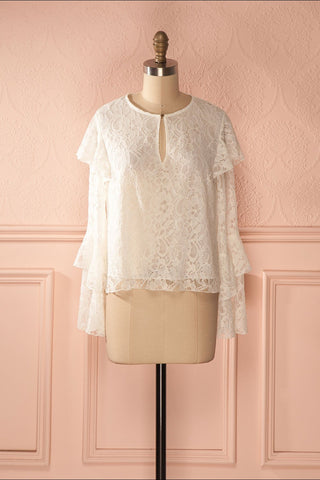 Lynnie Light - White lace ruffled blouse